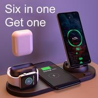 6in1 caricabatterie Wireless Dock Station 10W Qi induzione supporto di ricarica magnetico veloce supporto Micro USB TypeC accessori per telefoni cellulari