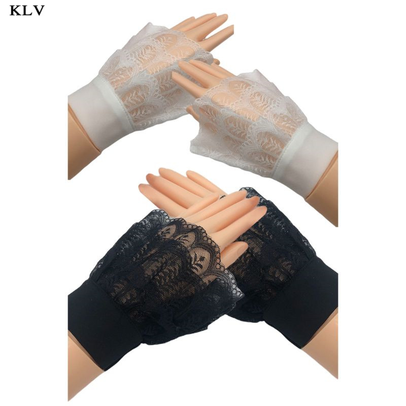 Women Autumn Layered Sheer Lace Decorative Horn Cuffs Leaves Patterned Detachable Sweater Fake Sleeve Sweet Doll Wrist Warmers