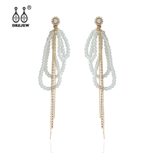 DREJEW 2019 Fashion Pearl Rhinestone Statement Earrings Korean Long Tassel 925 Crystal Drop for Women Jewelry HE0021