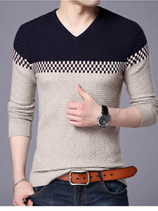 BROWON Knitted Sweater Pullover Man Mens Fit Slim Business for V-Ausschnitt Leisure