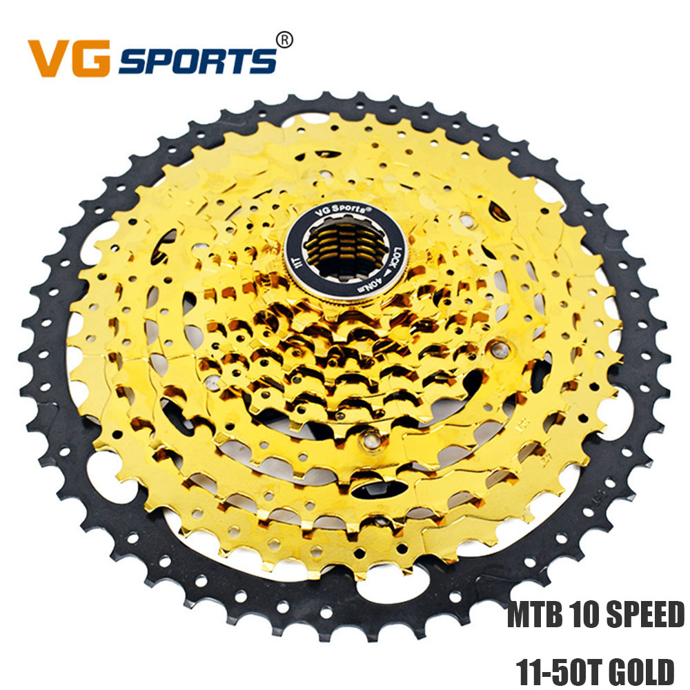 MTB Bike Freewheel <font><b>Cassete</b></font> <font><b>10</b></font> Velocidades 50T Road Bike Gold Sprocket <font><b>10</b></font> speed 11-50T cog cdg for Shimano Sram VG Sports image