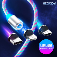 3 in 1 Glow LED Lighting Magnetic USB Type C Cable Micro USB Charger Cable Wire for iPhone Huawei Samsung Xiaomi Magnetic Cable