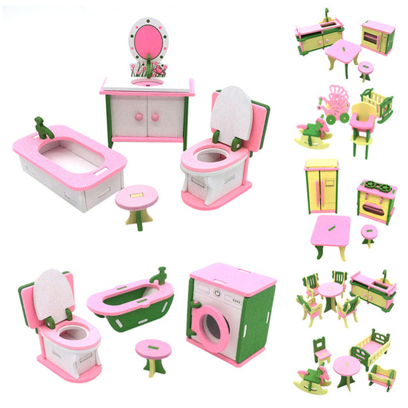 3D Wooden Dolls Mini Toys House Set Miniature House Kids Role Pretend Play Toys Doll House Assemble Kits Fun Over Home Toys Sets