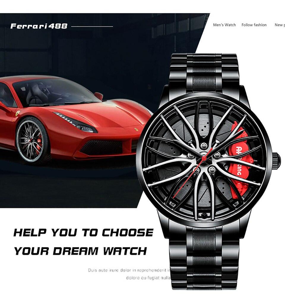 Hf4e93f8ec685429ab43eb946d7a65cd79 NEKTOM Sports Car Wheel Rim Hub Watches Men Custom Design Sport Car