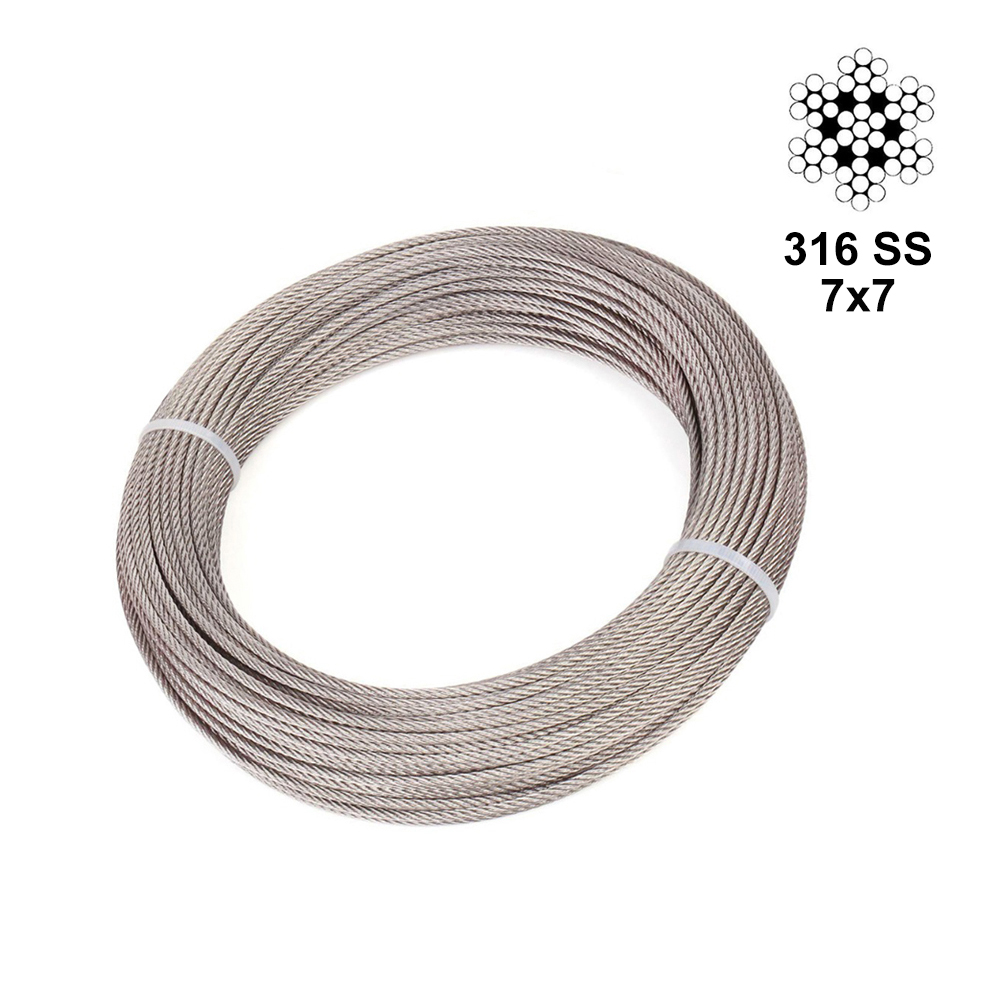 T316 Marine 1/8 Inch Stainless Steel Aircraft Wire Rope For Deck Cable Railing Kit,7x7 100/164 Feet
