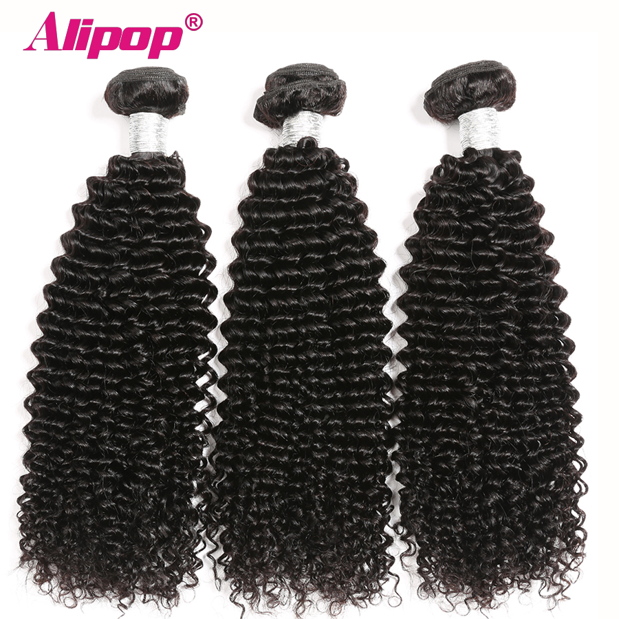 Mongolian Kinky Curly Bundles Human Hair 3 Bundles Remy Hair Extension  Natural Black 8 28 Inch bundles ALIPOP-in 3/4 Bundles from Hair Extensions & Wigs    1