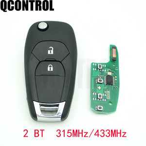 QCONTROL 2 Button Modified Folding Flip Remote Smart Car Key Fob 315MHZ or 433MHZ ID46 PCF7941 Chip For Chevrolet Cruze Aveo