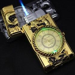 Luksusowy Jet zapalniczka złoty zegarek Turbo gaz wiatroodporny zapalniczka cygaro papieros Metal LED zapalniczka napompowana benzyna butan