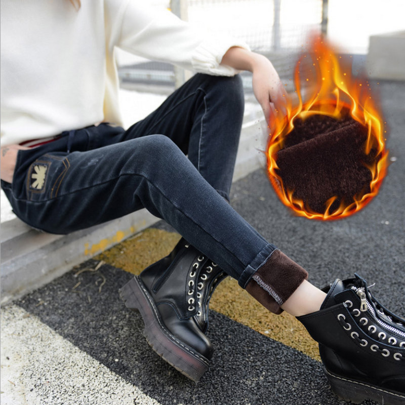 2020 new style fashion woman cotton casual Thicken and keep warm jeans 055