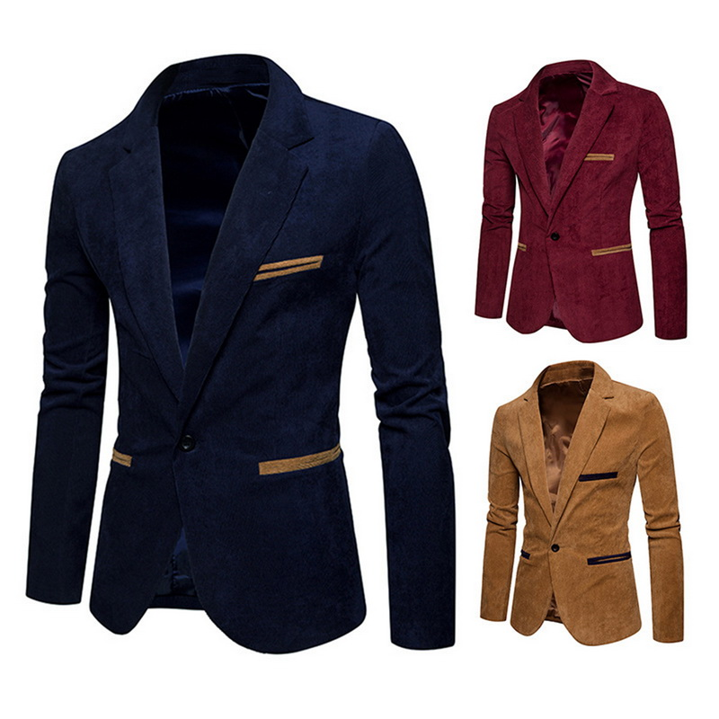 Men's Patchwork Coats Men Corduroy Jacket Blazer Solid Slim Fit Long Sleeve Coat Male Single Button Casual Suit Blazer Outwear