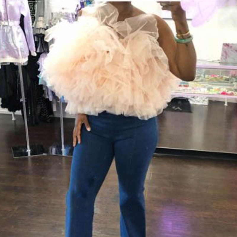 Trendy Women's Tulle Tops Off Shoulder Woman Shirt Custom Made Plus Size Woman Top