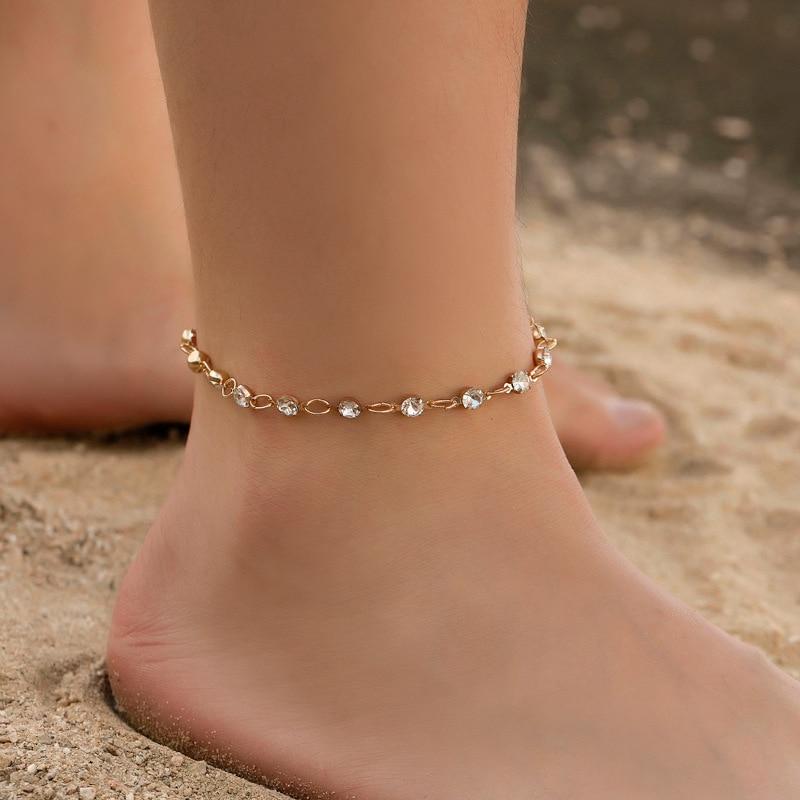 Modyle Summer Bohemian Gold Anklets Chain for Women Sequins Anklet Leg Bracelet Bijou Foot Jewelry