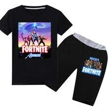 Crianças menino verão shorts terno t-camisa de algodão fortnite manga curta t camisa + shorts duas peças moda anime figura conjuntos roupas