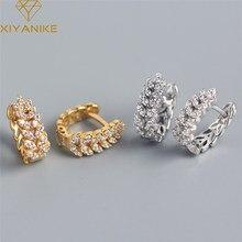 XIYANIKE 925 Sterling Silver pełny kryształ górski pszenica Ear Hoop kolczyki kobiet High-end Light Luxury Fashion wykwintna biżuteria prezent