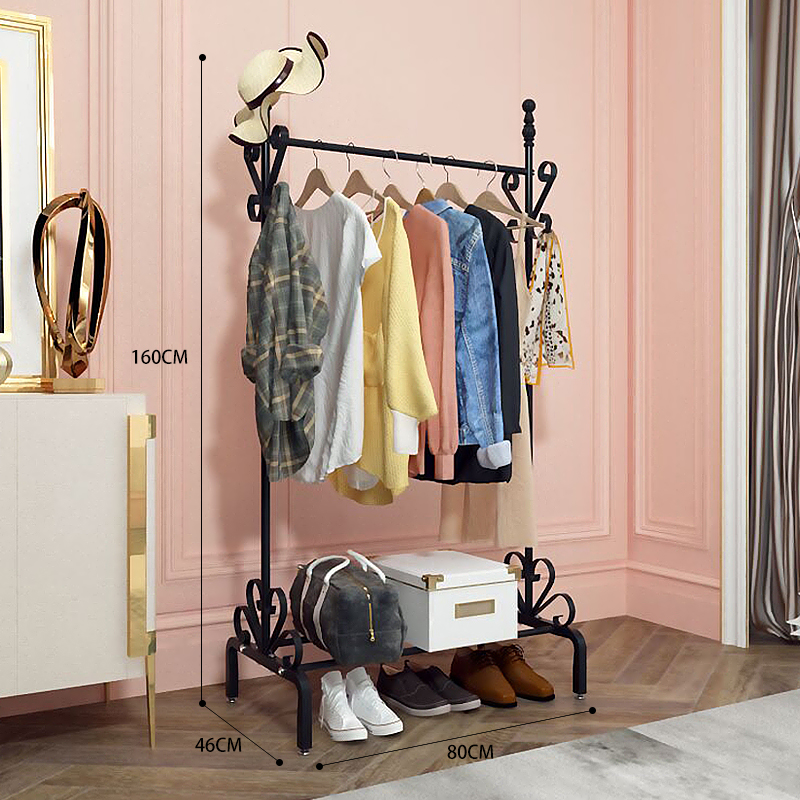 Wardrobe Stainless Steel Coat Rack Double Rod Indoor Adjustable Drying Rack Armadio Armoire Metal Clothes Hanger With Wheels