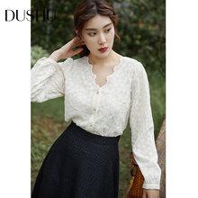 Женская шифоновая блузка с цветочной вышивкой dushu белая винтажная