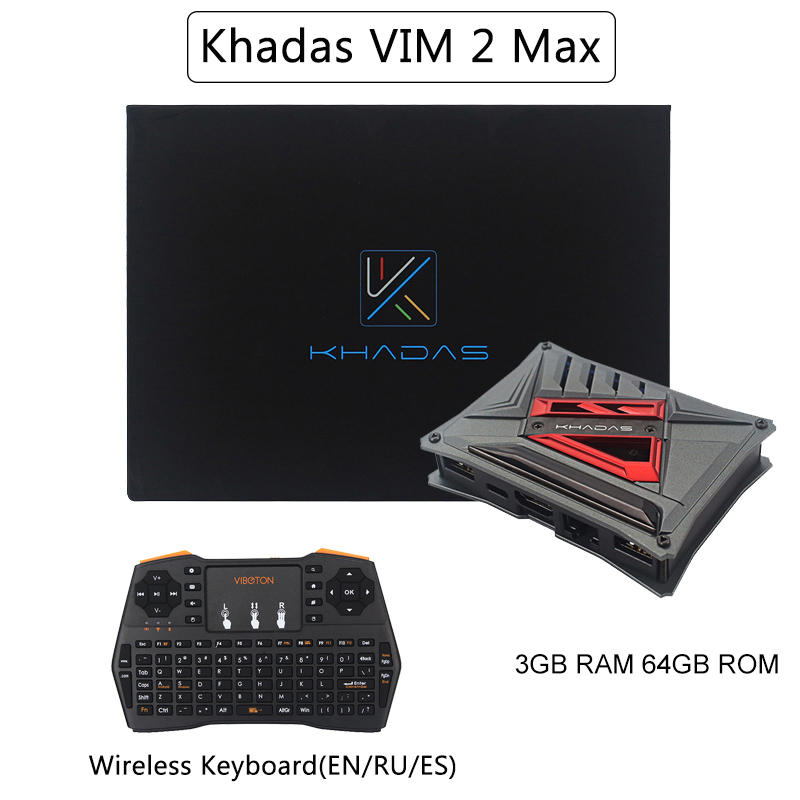 Khadas Vim2 Max 3GB RAM 64GB EMCC Single Board Computer Amlogic S912 WiFi Bluetooth Android TV Box + 2.4GHz Wireless Keyboard