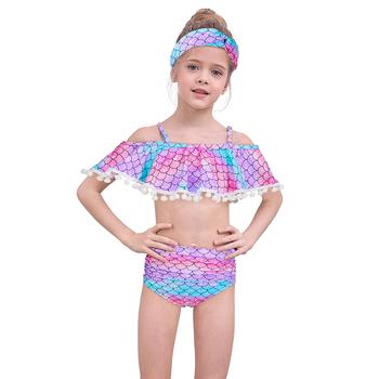 2020 Summer Mermaid Split stroje kąpielowe z pałąkiem na głowę dla dziewczynek 3 kolory stroje kąpielowe dziewczęce Bikini garnitury dziecięce plażowe stroje kąpielowe body tanie i dobre opinie Poliester spandex Dziewczyny Pływać CSJ0004@C1 Pasuje prawda na wymiar weź swój normalny rozmiar W paski Dwa Kawałki
