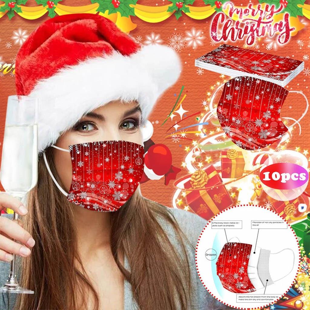 10 шт. одноразовые маски на Рождество с принтом (мягкая маски для взрослых 3 х слойные маски дышащий Haze доказательство Защитная лицевая маска d3|Женские маски|   | АлиЭкспресс