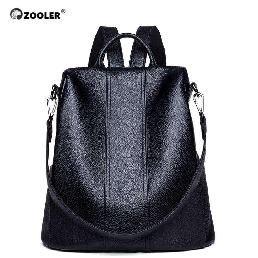 ZOOLER oryginalne skórzane plecaki torby podróżne kobiet 2019 nowe miękkie czarny plecak wysokiej jakości luksusowa książka torba Bolsas # Z176 w Plecaki od Bagaże i torby na  Grupa 1
