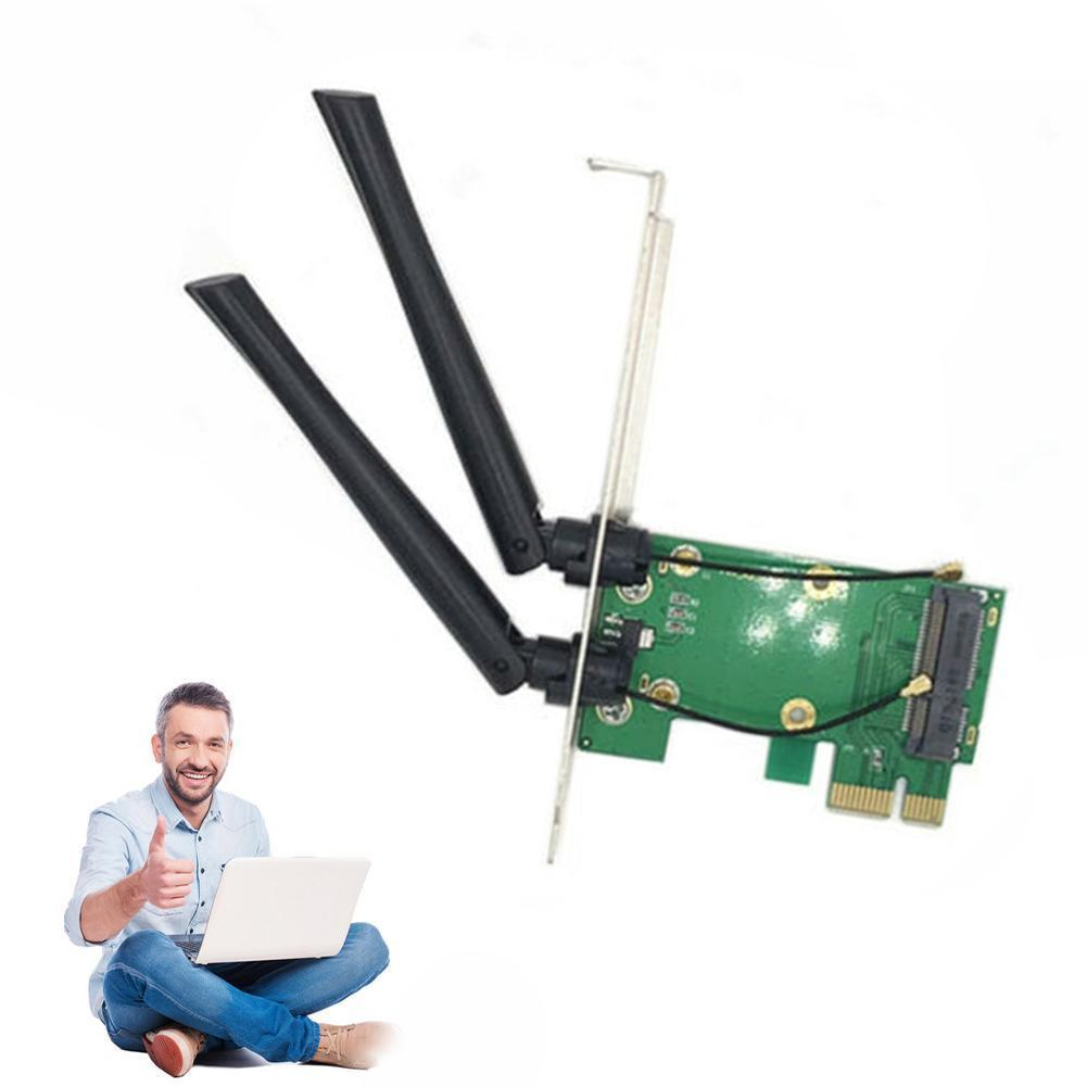 Wireless Wifi Network Card Mini PCI-E To PCI-E 1X Desktop + Antennas Adapter 2 G6A3
