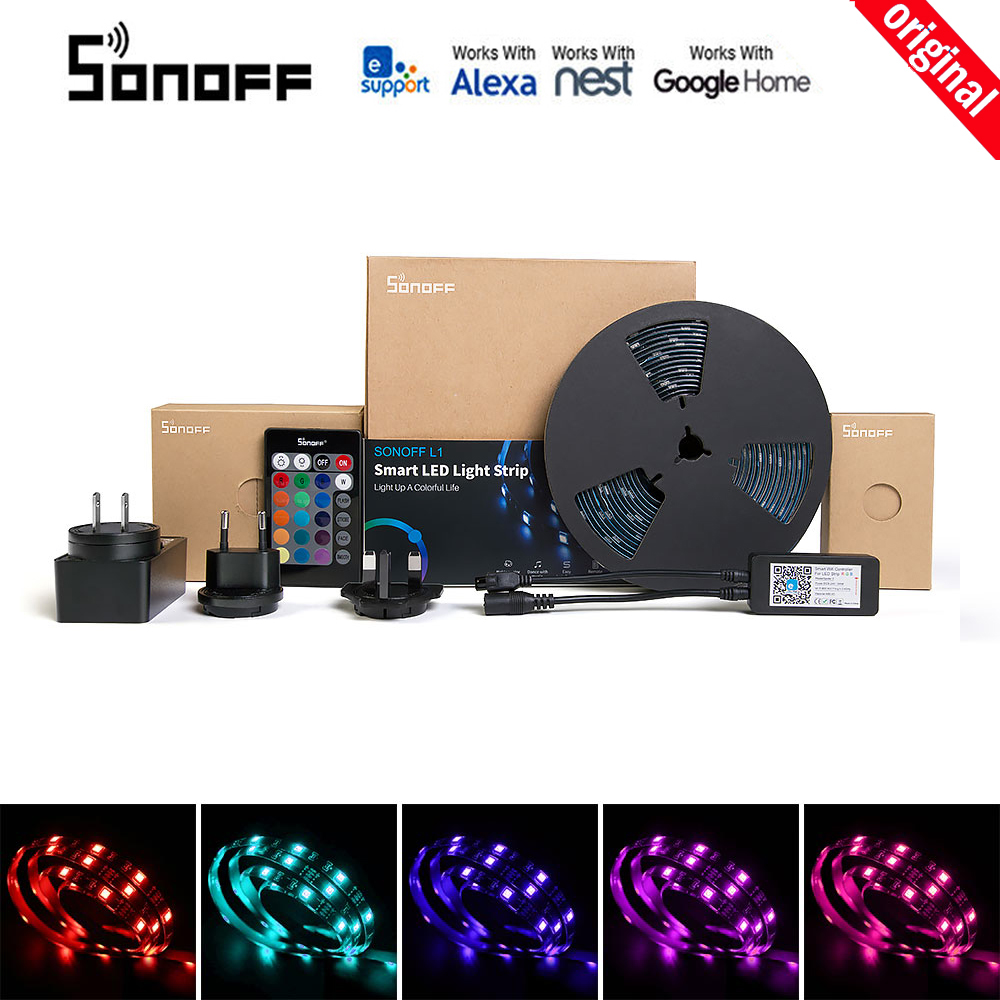 SONOFF L1 Smart LED Light Strip Dimmable Waterproof WiFi Flexible RGB Strip Lights Work with eWelink Alexa Google Home