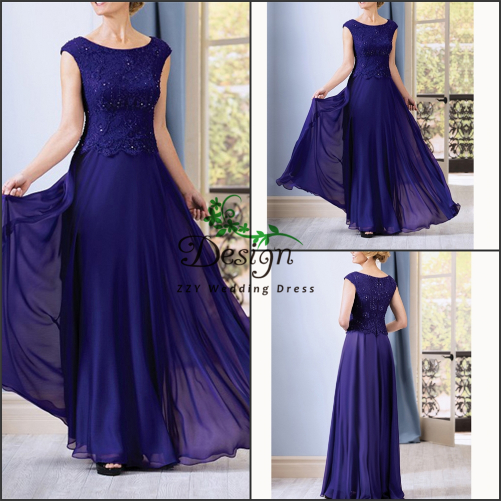 Plus Size Mother of the Bride groom Dresses Dresses for Wedding 2019 Blue Chiffon A-line Beading Lace Cap Sleeves kurti vestido