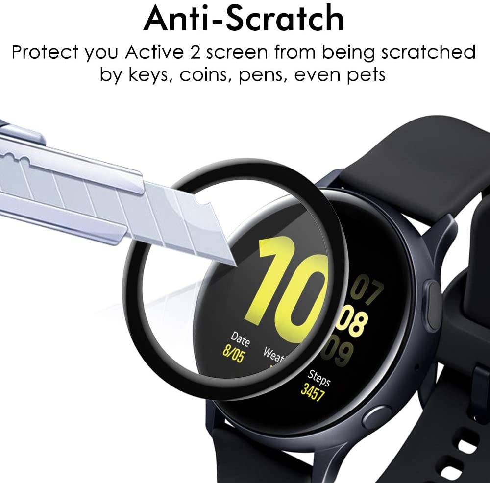 3D Full Screen Protector Film for Samsung Galaxy Watch Active 2 40mm 44mm HD Anti-Bubble Soft Curved Edge Screen Protector Cover 4