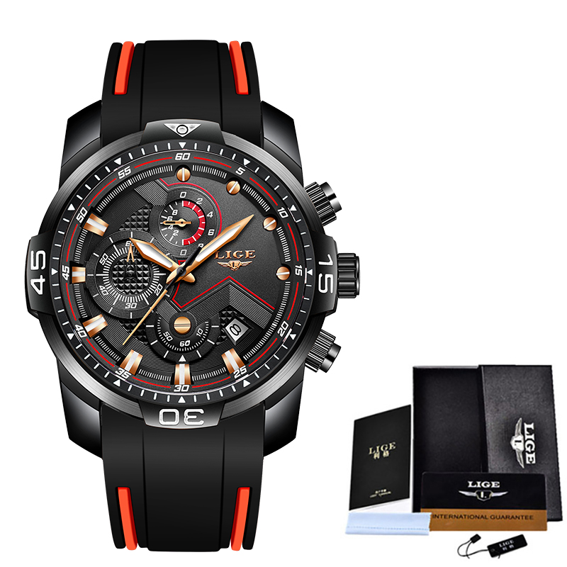 2020 LIGE Sport Watch Men Top Brand Luxury Chronograph Silicone Strap Quartz Mens Watches Waterproof Clock Relogio Masculino+Box 17