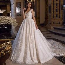 Traugel v yaka bir çizgi dantel düğün elbisesi aplike aplike kolsuz Backless gelinlik katedrali tren gelin kıyafeti artı boyutu