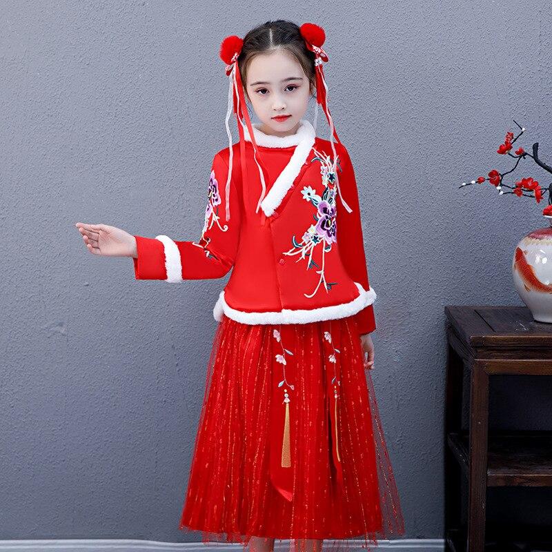 3813 nouveaux vêtements d'hiver Style chinois robe de princesse brodée florale nouvel an vêtements fille robe