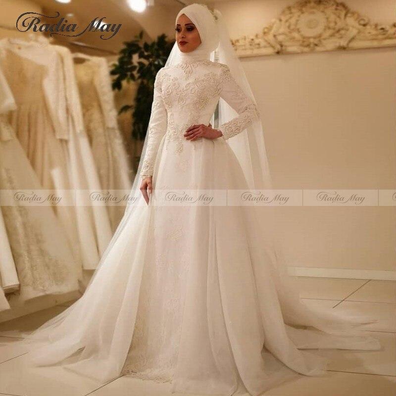 2020 Arabic Lace Long Sleeve Dubai Wedding Dress With Hijab Muslim Bridal Gowns Appliques Detachable Train Wedding Gown Islamic