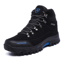 Mens Boots  Winter Autumn Warm Men Flock Waterproof Hiking High Ankle for Male Comfortable Shoe