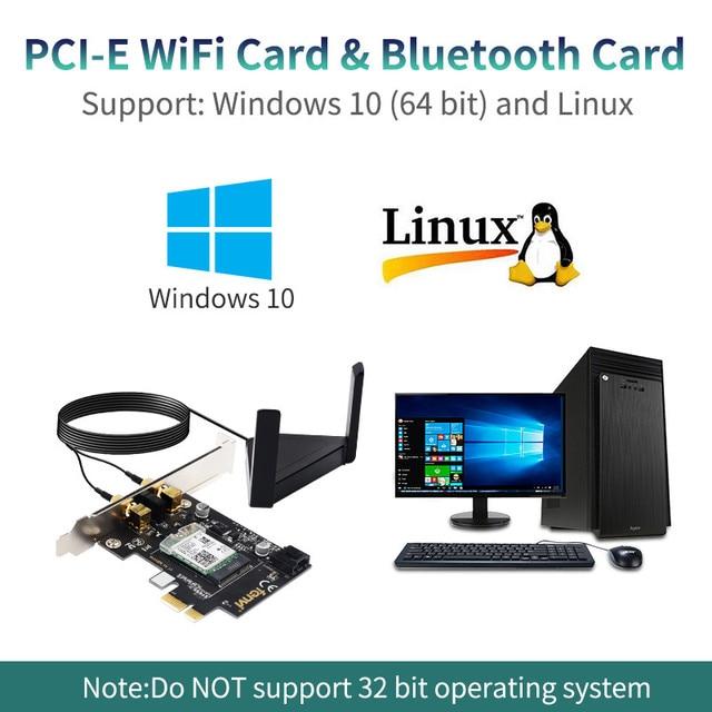 2.4Gbps PCIe Wifi Card Gigabit Wi-FI 6 Dual Band 2974Mbps Wireless Network Bluetooth 5.0 AX200 2.4G/5Ghz 802.11Ac/AX