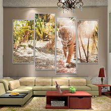 Laeacco Sunshine Tiger Art Poster Canvas Painting Room Home Decor 4 Pieces Wall Prints Pictures For Living Decoration