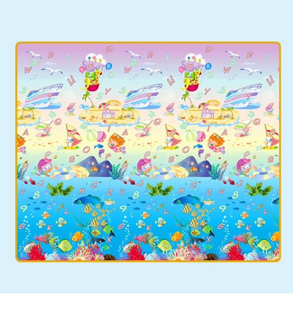 Hf4eb269ab2ce40259f24a94d9a6b7645b Baby Play Mat 0.5cm Thick Foldable Crawling Mat Double Surface Baby Carpet Rug Cartoon Developing Mat for Children Game Playmat