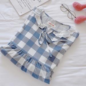Image 5 - Женское клетчатое платье на шнуровке, винтажная Ночная рубашка большого размера с кружевом в стиле принцессы, осень 2019