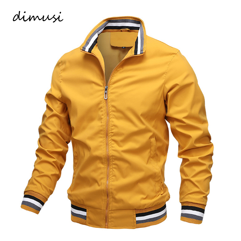 DIMUSI Men's Jackets Casual Autumn Mens Solid Color Sports Jackets Slim Fit Business Coats Fashion Baseball Coats Mens Clothing
