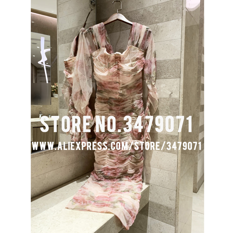 2018 летнее высококачественное дизайнерское элегантное сексуальное платье из сетчатой пряжи высокого качества с принтом в виде розовых роз, посылка на ягодицы для праздников и вечеринок