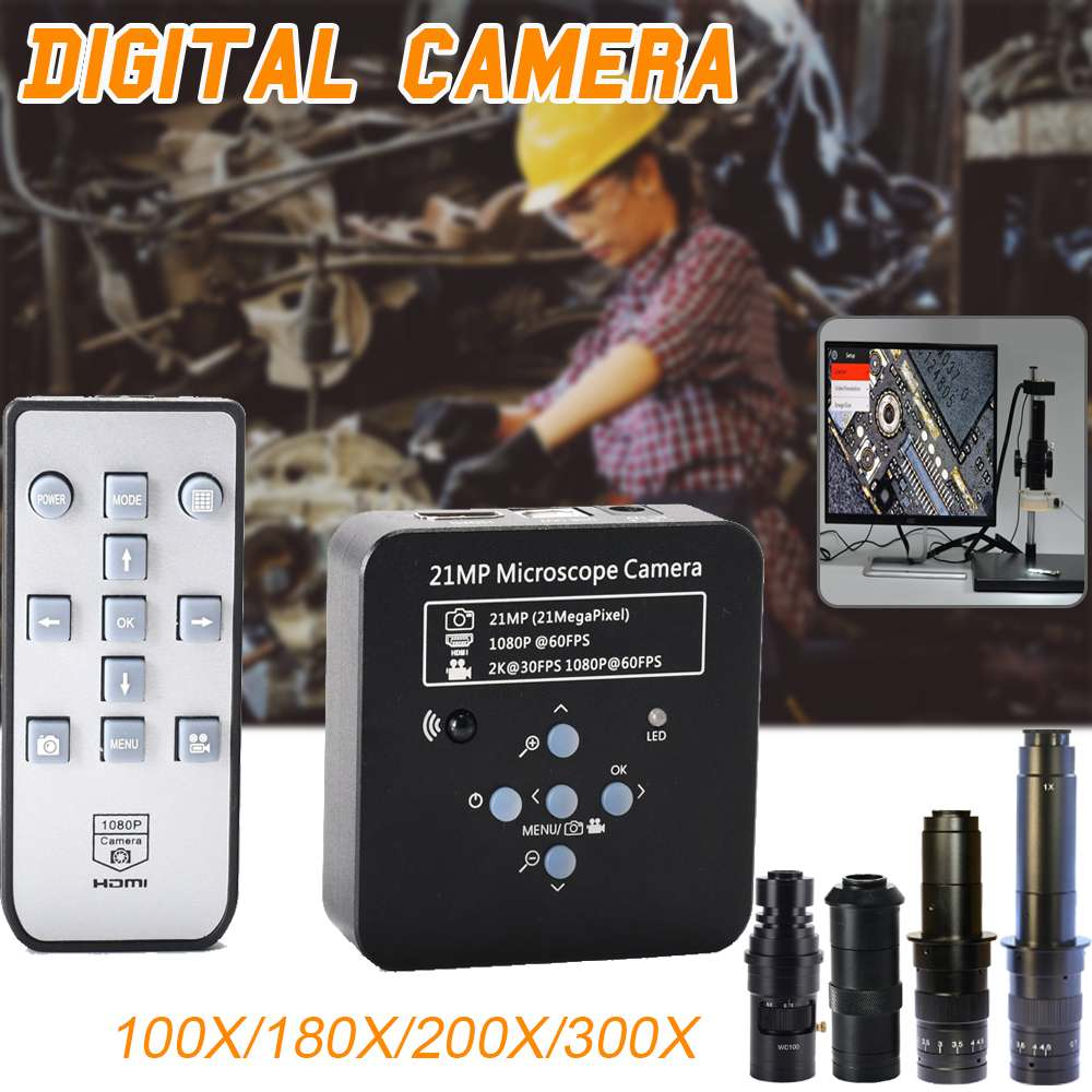 New 21MP 1080P 60FPS 2K Industrial Camera <font><b>USB</b></font> Digital Video <font><b>Microscope</b></font> Magnifier 100X 180X <font><b>200X</b></font> 300X Lens C-mount Accessories image