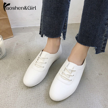 Купить с кэшбэком Haoshen&Girl Women Sneakers White Vulcanized Shoes Lace Up Round Toe Casual Women Shoes Fashion Women Shoes Footwear Size 35-40