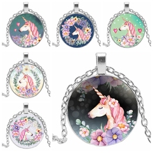 2019 New Cute Unicorn Vintage Necklace Three-color Chain Glass Gold and Silver Pendant Necklace Retro Handmade Jewelry Gifts cute unicorn vintage necklace antique bronze chain glass cabochon pendant necklace for women retro handmade jewelry party gift
