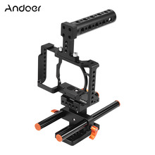 Andoer هيكل قفصي الشكل للكاميرا لسوني A6500/A6400/A6300/A6000 كاميرا فيديو فيلم صنع استقرار سبائك الألومنيوم 1/4 بوصة برغي