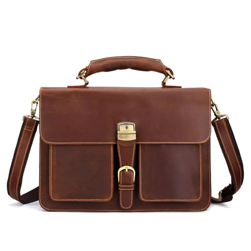 Retro Leather Men'S Large-Capacity Briefcase Head Laptop Bag Crazy Horse Skin 15Inch Computer Messenger Bag Brown