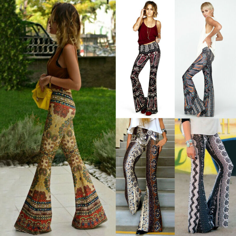 Women Boho Hippie High Waist Loose Wide Leg Flared Bell Bottom Flroal Long Pants