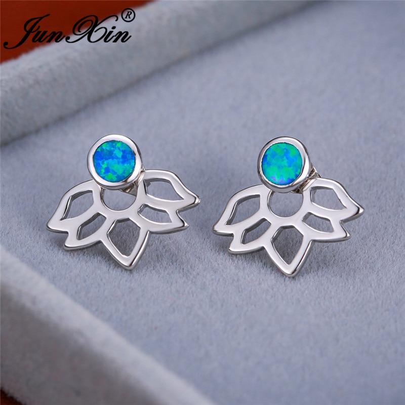 Cute Flower Lotus Stud Earrings White Gold Rose Gold Round Blue Fire Opal Earrings For Women Wedding Engagement Ear Jewelry Gift