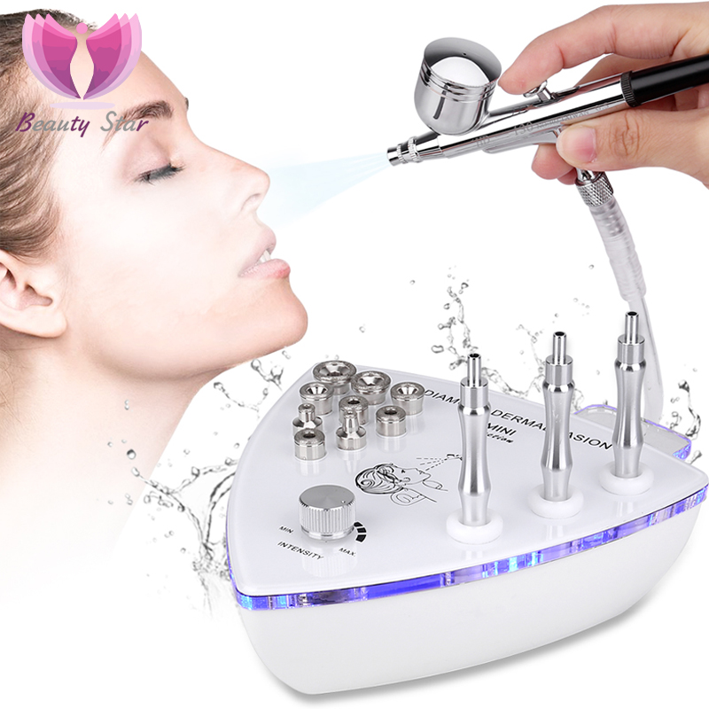 Beauty Star Diamond Microdermabrasion Dermabrasion Machine With Spray Gun Water Spray Vacuum Suction Exfoliation Facial Massage