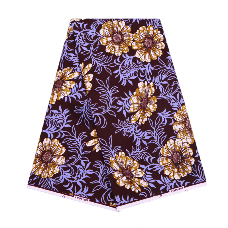 2019 New Dutch Wax Fabric Fashion Daisy Purple Leaf Print African Veritable Ankara Guaranteed Wax Printed Fabric