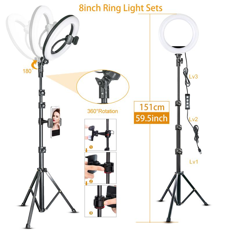 Led Video Ring Light with 51inch Tripod Stand Phone Holder Selfie Ringlight for Youtube Makeup Video