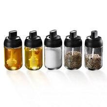 Spice Jar Condiment Seasoning Honey Bottle With Spoon Kitchen Seasoning Salt Oil Coffee Honey Container Paprika Garlic Storage цена 2017